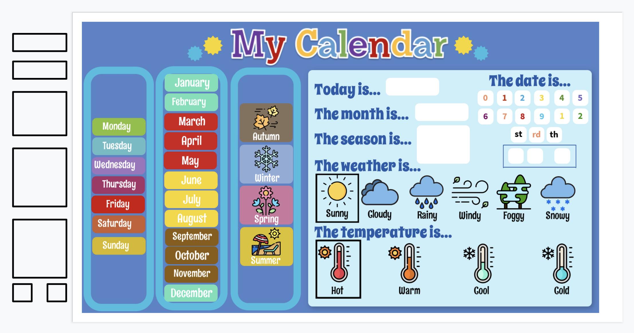 Calendar Weather Daily Practice